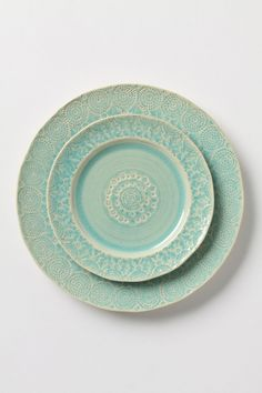 Want this dinner set like whoa. Can't tell if it's true mint green or aqua. Our kitchen counter is real deal mint green, and it's often hard to match. Oh, wifely problems.     Old Havana Dinner Plate - Anthropologie.com