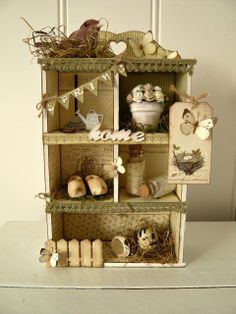 't Scrap Ateljeetje - Cute little Spring Cabinet made with Pion design papers A Day in May