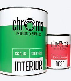 Chroma Painting Supplies by Cez Raquion, via Behance Label Design, Box Design, Package Design, Paint Buckets, Plastic Buckets, Eco Friendly Paint, Paint Supplies, Paint Brands, Simple Illustration
