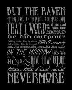 NEVERMORE Edgar Allan Poe quote modern print