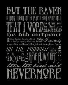 NEVERMORE Edgar Allan Poe quote modern print