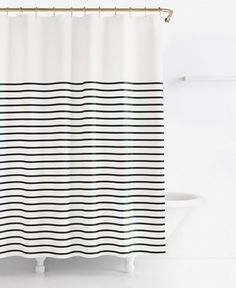 Harbor Stripe Душевая занавеска - Kate Spade Harbor Stripe Душевая занавеска - Emile Stripe, Onyx - [Product_type] - Tonic Living Navy:kate spade new york Harbour Stripe Shower Curtain 2 of these. Black Shower Curtains, Black Curtains, Bathroom Shower Curtains, Kate Spade Shower Curtain, Boys Shower Curtain, Bathroom Showers, Extra Long Shower Curtain, Bath Shower, Gold Shower