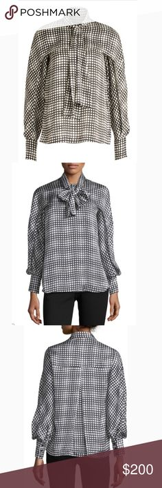 Yigal Azrouel Tie-Neck Grid Blouse Size 2 Cape Style Blouse with Tie Neck Two Buttons At The Neck, Slim fit Bishop Sleeves with Slits Yigal Azrouel Tops Blouses