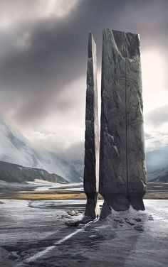 Menhir, Mark Drummond J Fantasy Art Landscapes, Fantasy Landscape, Fantasy Paintings, Types Of Fiction, Fantasy Places, Environment Concept Art, Environmental Art, Dark Fantasy Art, Sci Fi Art