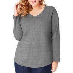 Just My Size Women's Plus-Size Long Sleeve V-neck Fashion T-shirt, Size: 4XL, Gray