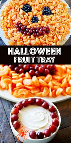 Jack O' Lantern Halloween Fruit Tray and Fruit Dip - this easy and creative Halloween appetizer is perfect for a party! Kid-friendly healthy fruit with a creamy fruit dip. Easy Halloween Snacks, Halloween Fruit, Halloween Appetizers, Healthy Halloween, Appetizers For Party, Appetizer Recipes, Halloween 2020, Marshmallow Creme, Fruit Displays