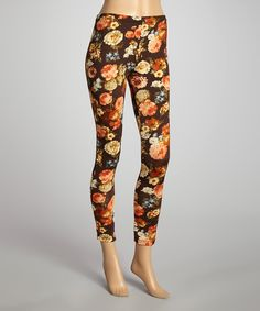 This Black & Orange Flower Leggings by She's Cool is perfect! #zulilyfinds