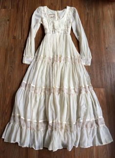 EUC Gunne Sax Jessica McClintock 1970s Prairie Wedding Dress, Cream Floral, 7 XS #GunneSax