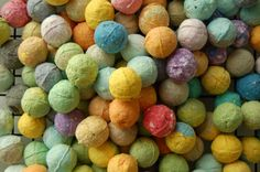 seed bombs made with lint, paper pulp and seeds