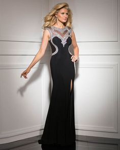 2015 Zipper Chiffon Split Front Crystals Black Floor Length Evening / Homecoming / Prom Dress By Clarisse 1001