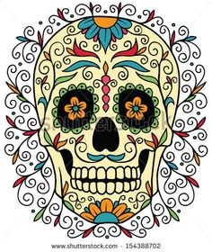 Mexican Sugar Skull Stock Vector 154388702 : Shutterstock