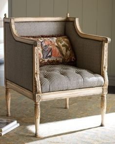 Ticking-Stripe Chair traditional chairs - fabric for G'ma's chairs? Chair And Ottoman, Upholstered Chairs, Armchair, Chair Bed, Side Chair, Italian Furniture, Home Furniture, Furniture Design, Furniture Online