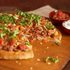 Taco #Pizza. Dbl-click pic for #Recipe. #Celiac #coeliac, use #glutenfree #PizzaCrust #Salsa #Cheese #TortillaChips.