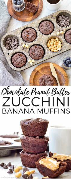Chocolate Peanut Butter Zucchini Banana Muffins are the perfect breakfast! This recipe is grain-free, gluten-free, dairy-free has no refined sugar and is paleo-friendly! Plus they are loaded with protein, sneaky veggies and are freezer-friendly! Make them today! #muffins #breakfast #chocolate #peanutbutter #zucchinimuffins #bananamuffins #grainfree #glutenfree #dairyfree #refinedsugarfree #zucchini #banana  via @joyfoodsunshine