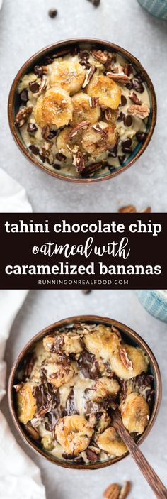 This tahini chocolate chip oatmeal with coconut sugar caramelized bananas is a special treat. Enjoy this amazingly delicious breakfast on a rainy Sunday or cozy Christmas morning. Vegan, gluten-free.