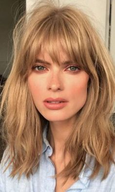 # Hairstyles with bangs Straight Women Synthetic Hair Capless Full Bang Natural Straight Mid-Length Wigs Short Hair With Bangs, Haircuts With Bangs, Wavy Hair, Short Hair Cuts, Blonde Hair, Short Wavy, Long Layered, Curly Haircuts, Mid Length Hair With Bangs