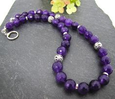 Purple Agate gemstone necklace, chunky bead necklace, faceted Agate beads