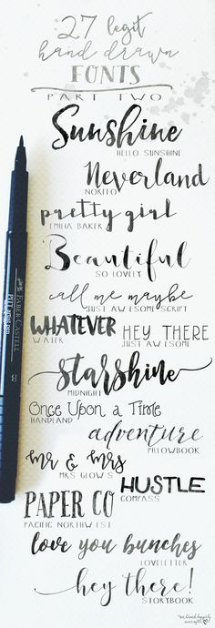 Creative Lettering: 27 Legit Hand Drawn Fonts to use in your bullet journal. Font Ideas for your Bujo Headers. Hand Drawn Fonts, Hand Drawn Typography, Hand Drawn Type, Japanese Typography, Hand Type, Cricut Fonts, Penmanship, Calligraphy Handwriting, Pretty Handwriting