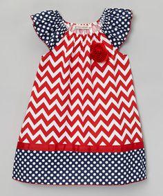 Navy & Red Zigzag Patriotic Angel-Sleeve Dress - Toddler & Girls