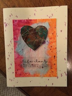 Heart note card. Heart made with foil tape and alcohol inks