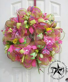 Spring Garden Wreath, Spring Deco Mesh Wreath, Summer Wreath, Summer Deco Mesh Wreath