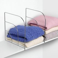 Find shelf dividers in a variety of sizes and styles including wire or acrylic dividers. Use shelf dividers for organizing closet shelves or book shelves. Closet Shelf Dividers, Bathroom Closet Organization, Drawer Dividers, Closet Shelves, Closet Storage, Bedroom Storage, Storage Shelves, Organization Ideas, Storage Hacks
