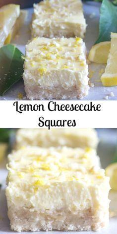 Lemon Cheesecake Squares Lemon Cheesecake Squares, a delicious shortbread base & a creamy lemony filling. The perfect Cookie Bar or Dessert recipe. Lemon Cheesecake Bars, Cheesecake Squares, Cheesecake Recipes, Cookie Recipes, Rasberry Cheesecake, Cookie Cheesecake, Cookie Bars, Lemon Dessert Recipes, Lemon Recipes