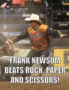 Frank Newsom beats rock, paper and scissors.
