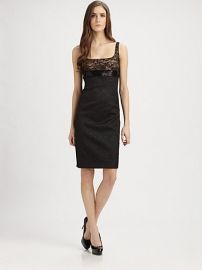 Lace Trimmed #Brocade Cocktail #Dress