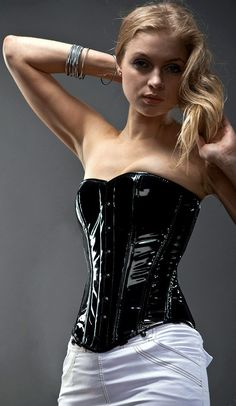 c9cdb9f7127 Shiny PVC overbust steel-boned authentic heavy corset