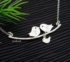 Parents and baby bird Necklace Bird Family Necklace. by hotmixcold, $32.00