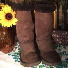 UGG Tall Boots Ugg Boots- Sz 7- Light brown- Some winter stains- heels have some wear- Can be cleaned & condition W/Ugg cleaning kit. Very Nice Boots. UGG Shoes Winter & Rain Boots
