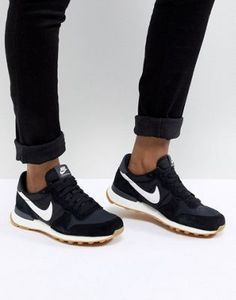 Nike Shoes OFF! ►► Nike Internationalist Nylon Sneakers In Black And White Black Nike Sneakers, Moda Sneakers, Ankle Sneakers, Leather Sneakers, Black Nikes, Black Nike Trainers Outfit, Black And White Sneakers, Ladies Black Trainers, Men Trainers