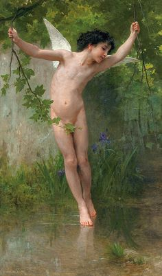 "William-Adolphe Bouguereau (French, 1825-1905), ""Amour voltigeant sur les eaux"""