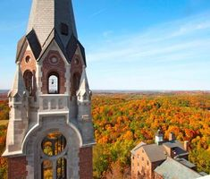 The view from Holy Hill Basilica along Wisconsin's Kettle Moraine Scenic Drive. More about this drive: http://www.midwestliving.com/travel/around-the-region/25-ultimate-fall-drives/page/15/0#