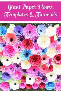 Giant Paper Flower Backdrop- Paper flower templates and tutorials- DIY paper flowers- Paper Decor- Svg cut files- Svgs for cricut/silhouette #Weddings