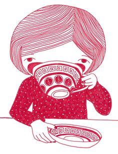 Drinking Tea 2013 - A4 sized Fine Art Print