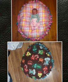 The top picture was the idea, bottom one is my final product :) no sew floor pouf pillow, made the same as a fleece tie blanket only stuffed with poly-fil