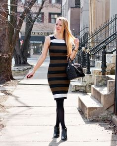How to wear a sheath dress this winter.