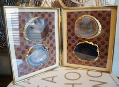 FRAMED AGATE -- Earth Tones Brown Red Gray Geode Slice, Vintage Gold Frame, Mantel Bookshelf Table Display - Great Gift Giving & Ship Ready