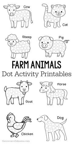 These farm animals dot activity printables are a fun fine motor activity for toddlers and preschoolers that will make a addition to your farm unit. They work great with Do a Dot markers, bingo markers, dot stickers, or pom poms. do a dot Farm Animals Preschool, Farm Animal Crafts, Preschool Themes, Preschool Crafts, Preschool Word Walls, Farm Animals For Kids, Easter Crafts For Toddlers, Zoo Animals, Farm Activities