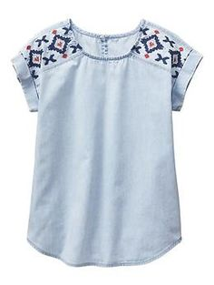 Factory embroidered chambray top