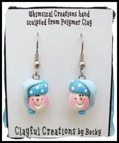 Becky's Polymer Clay  Snowman Earrings in Blue por clayfulcreations