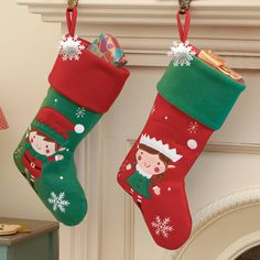 c7aef0f6f Personalised Embroidered Elf Christmas Stocking