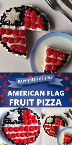 American Flag Fruit Pizza in Red, White, and Blue Colors makes a perfect Patriotic Day dessert. - recipemagik.com Sugar Frosting, Blue Desserts, Fourth Of July Food, Dessert Pizza, Cookie Crust, Blue Colors, Happy 4 Of July, Cream And Sugar, Pizza Recipes