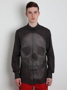 Alexander McQueen Men's Skull Polka Dot Shirt  This shit would be crazy with a cardigan or blazer. Black, ofc.