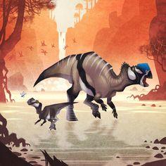 Muttaburrasaurus, Johan Egerkrans on ArtStation | Illustration from _Alla tiders Dinosaurier_ [_Dinosaurs of all ages_]
