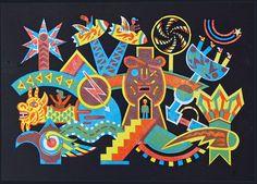 NIGHT FAIR A four colour linocut by Bernard Lodge