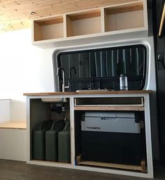 Sink system using portable jugs. Camper Van Kitchen, Sink, Building, Sink Tops, Vessel Sink, Vanity Basin, Buildings, Sinks, Construction