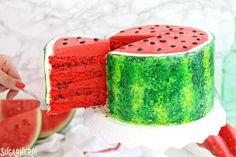 Watermelon Layer Cake - a fun cake that looks AND tastes like a watermelon!   From SugarHero.com